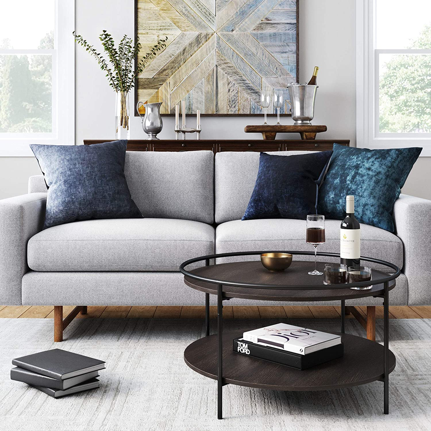 Nathan James Bodhi Mid-Century Nesting Coffee Table Set of 2, Stacking Side or End for Living Room with Faux Carrara Marble, Wood Finish Metal Legs, Dark Oak/Matte Black