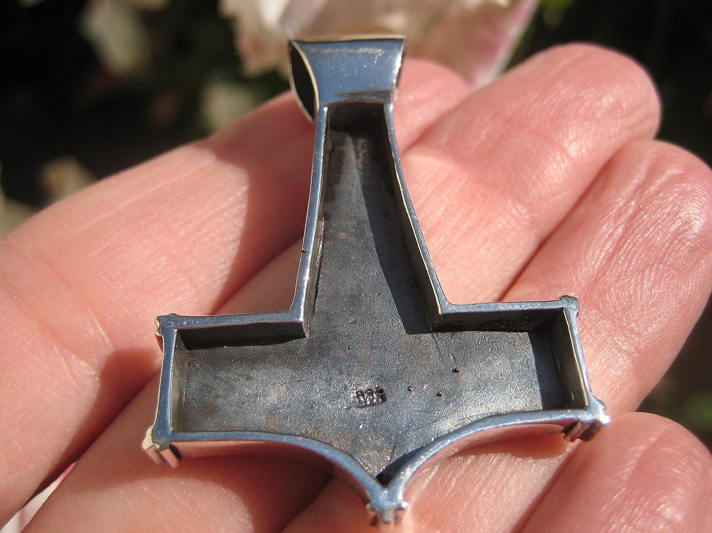 tr/ésors de lHimalaya Argent 925/Viking Mjolnir Mjolhner Dragon Marteau de Thor pendentif A31
