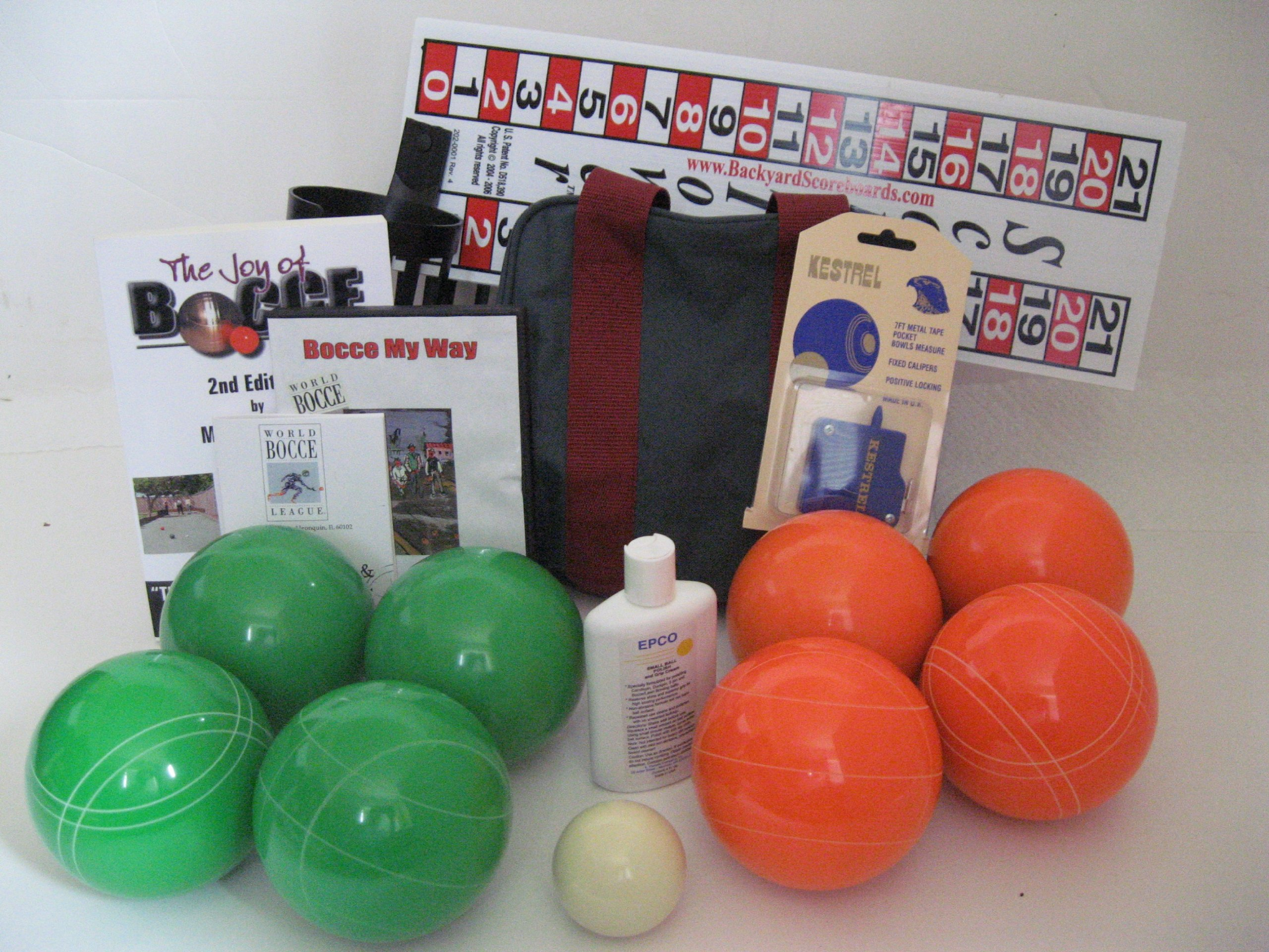 Everything Bocce Package - 110mm Epco Green and Orange Balls, Score Tower, Hi...