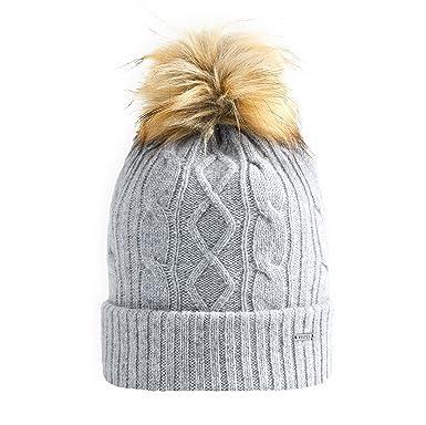 75c78e25eb124d Vulpés Beanie / Mütze Damen - Intelligente beheizbare Mütze mit Bommel für  warme Ohren (Lichtgrau
