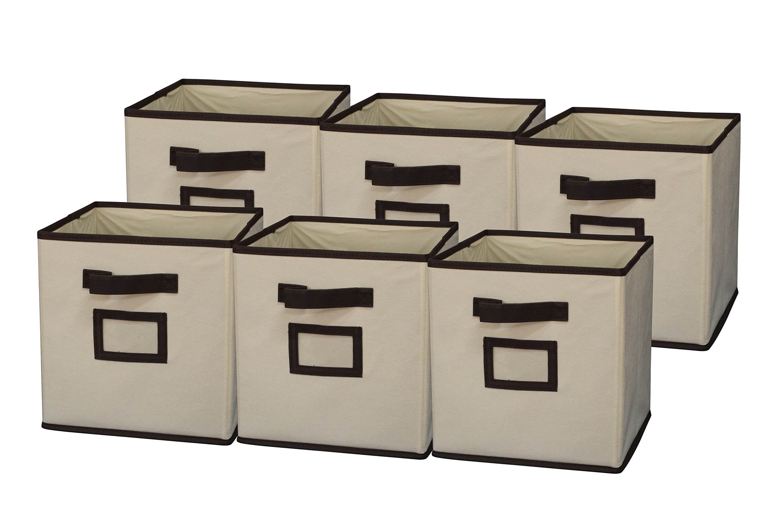 Sodynee Foldable Cloth Storage Cube Basket Bins Organizer Containers Drawers, 6 Pack, Coffee/Beige
