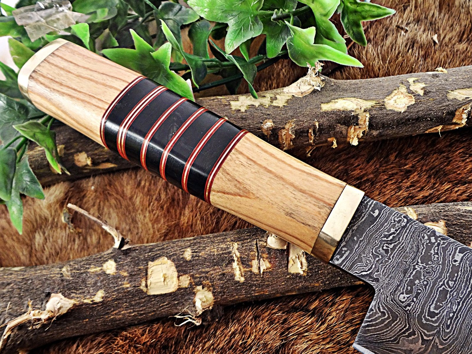 13.5 Inches long custom made Damascus steel chef Knife 8'' full tang blade Kow wood scale with brass spacer and bull horn round scale by Damascus Depot (Image #7)