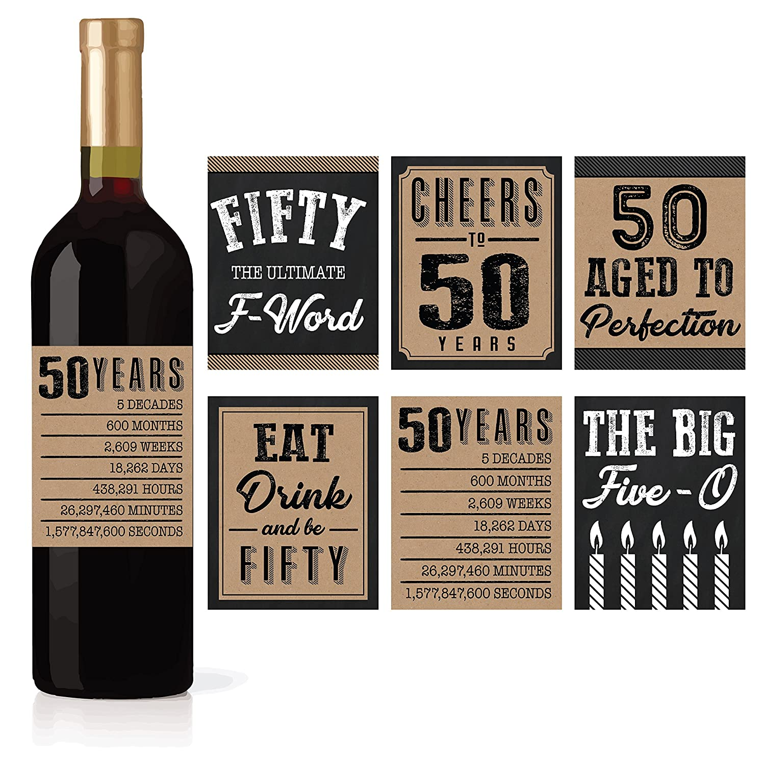 6 50th Birthday Wine or Beer Bottle Labels Stickers Present, 1968 Bday Milestone Gifts For Him Man, Cheers to 50 Years, Fifty, Funny Fabulous Unique Party Decorations Supplies For Men Husband Male