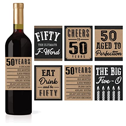 6 50th Birthday Wine Or Beer Bottle Labels Stickers Present 1968 Bday Milestone Gifts For