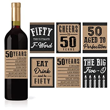 6 50th Birthday Wine Or Beer Bottle Labels Stickers Present 1968