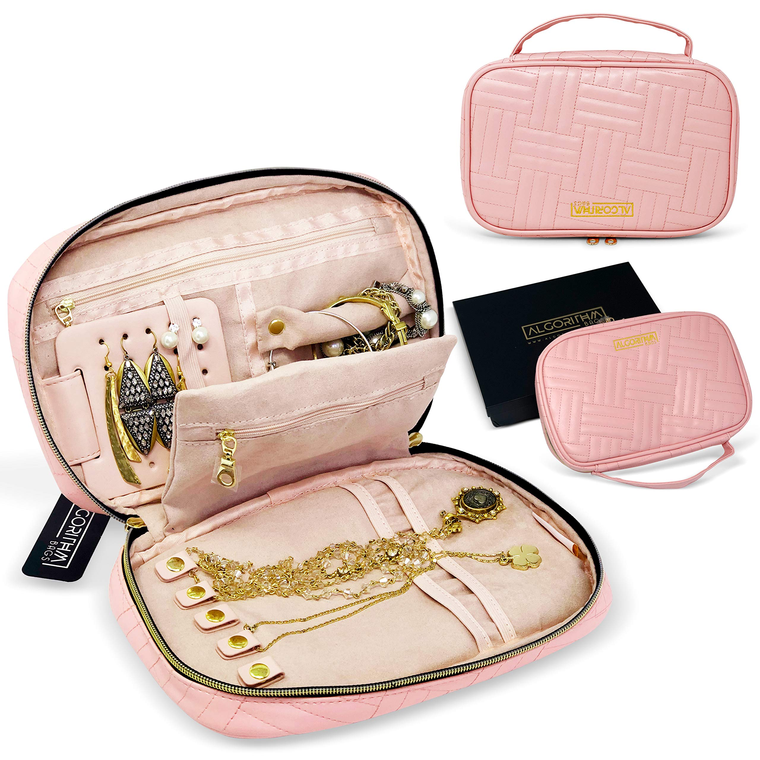 AlgorithmBags Travel Jewelry Organizer Vegan Leather Pouch Holder Storage Case for Necklace Earring Bracelet Ring (Pink Baby)