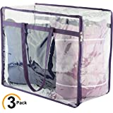 Clear Zippered Storage Bags | Closet Organizer Vinyl Bag for Bedding, Linen, Blankets, Duvet Covers, Comforters, Clothes & Toys | Multi Purpose & Space Saver PVC Organizers (Pack of 3, 18x15x9)