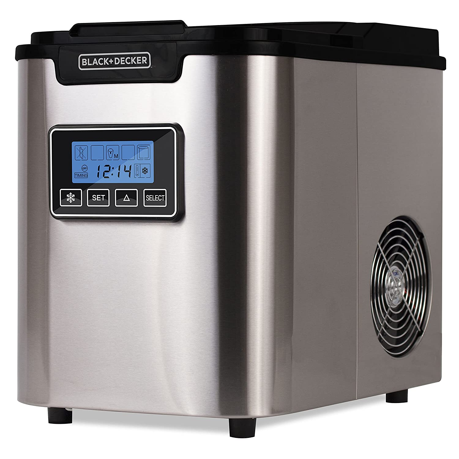 BLACK+DECKER Ice Maker- Countertop Ice Cube Machine for Cold Drinks with Choice of 3 Ice Cube Sizes- Stainless Steel with Black Lid (BIMY126S)