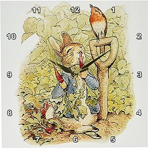 3dRose DPP_110164_1 Peter Rabbit in The Garden-Vintage Art-Wall Clock, 10 by 10-Inch