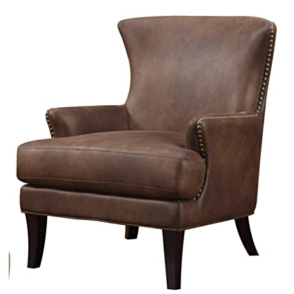 Amazoncom Emerald Home Nola Brown Accent Chair With Faux Suede