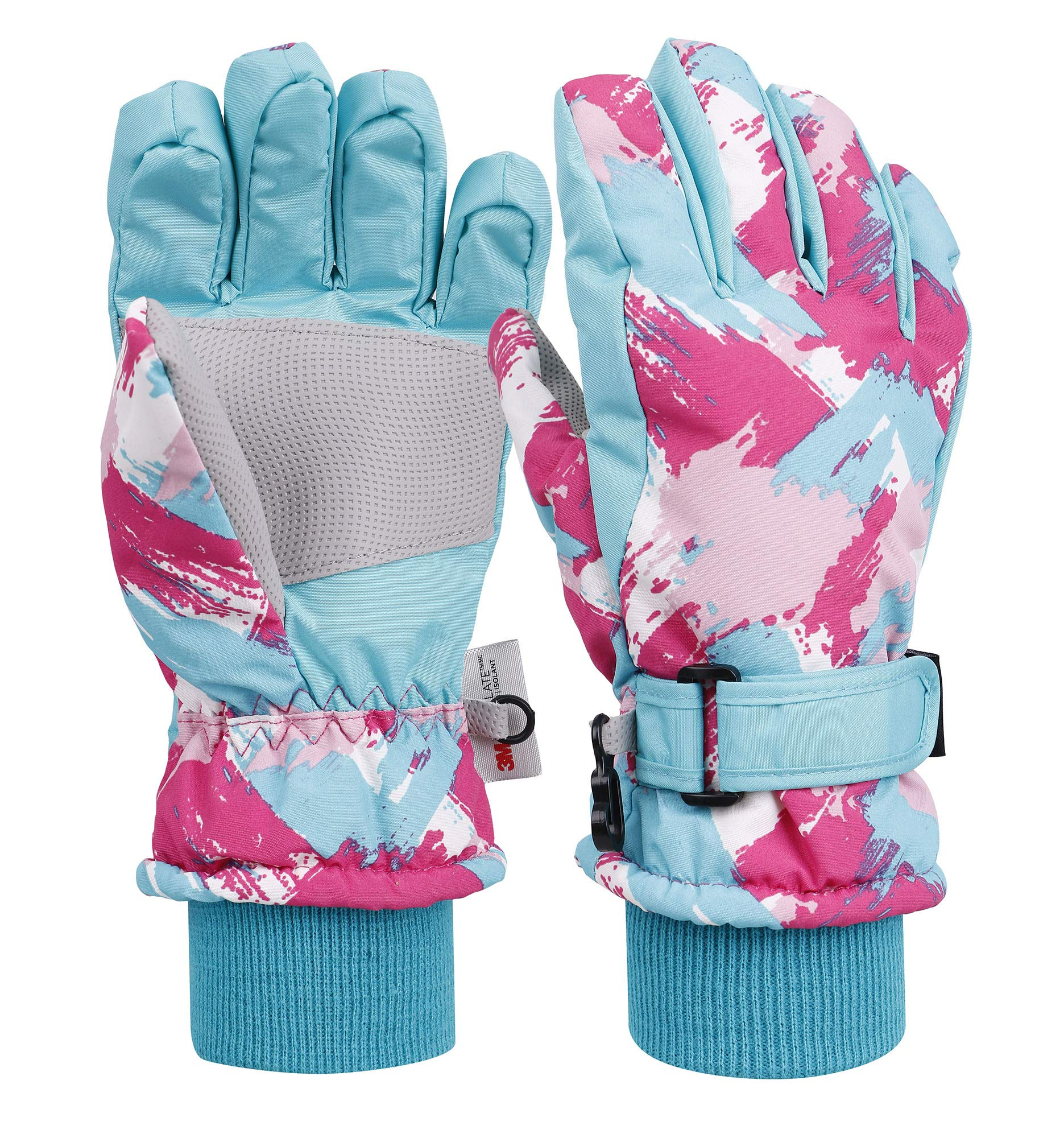 Livingston Kid's Winter Sportswear Waterproof Ski Gloves, Doodle_Blue, Medium