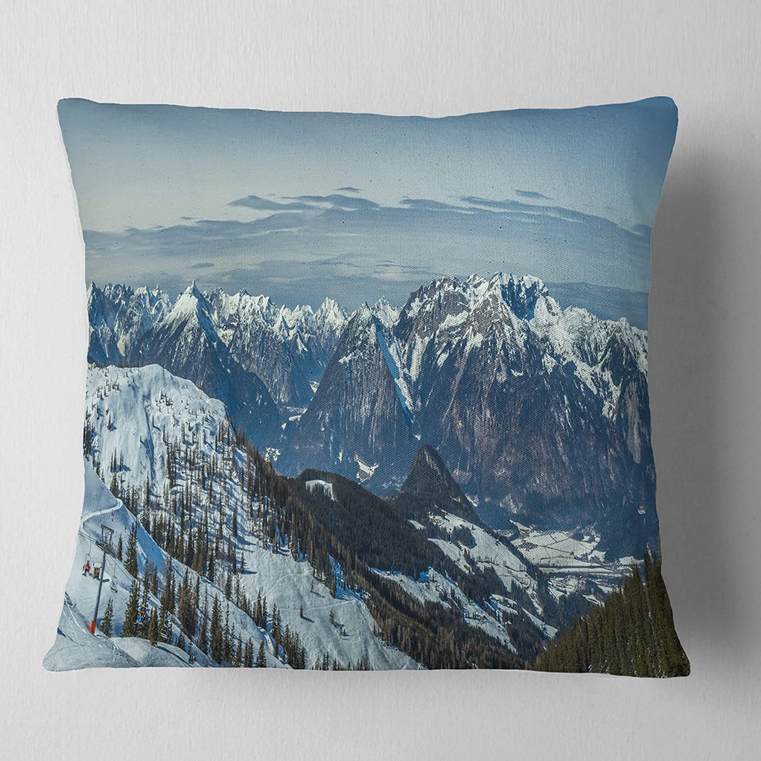 Designart CU11789-16-16 White Ski Slope Panoramic View' Landscape Printed Cushion Cover for Living Room, Sofa Throw Pillow 16 in. x 16 in. in