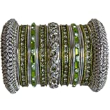 Indian Bridal Collection! Panache' Mehandi Green Bangle Set in Silver Ton BangleEmporium X-Small Size 2.4