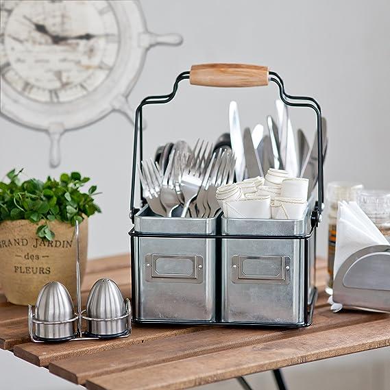Estantería galvanizada para mesa de cocina, soporte para cubiertos, servilletas, salsa. Bandeja de condimentos con asas y cubos de metal o organizador de ...