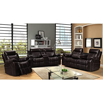 PDAE Sherry Dark Brown Leather Air 3 Pc Reclining Sofa Set And Rocking Chair