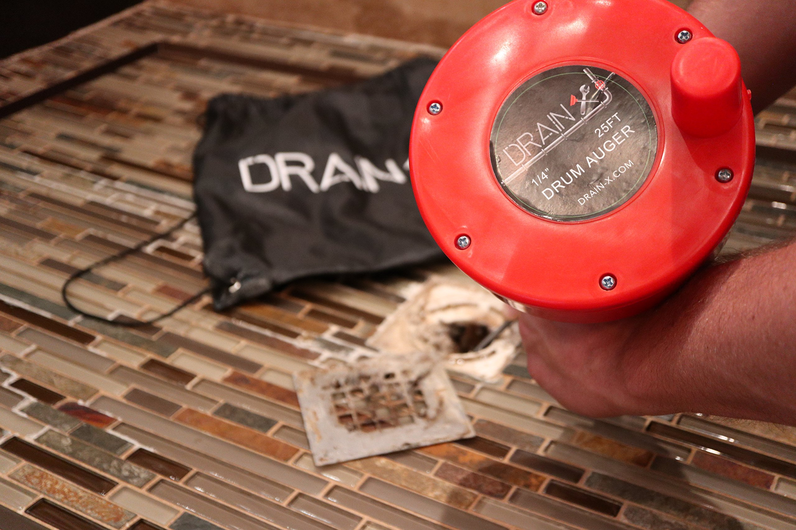 Plumbing Snake Drain Auger | 25-Ft Drain Snake Cable with Work Gloves and Storage Bag by DrainX (Image #8)