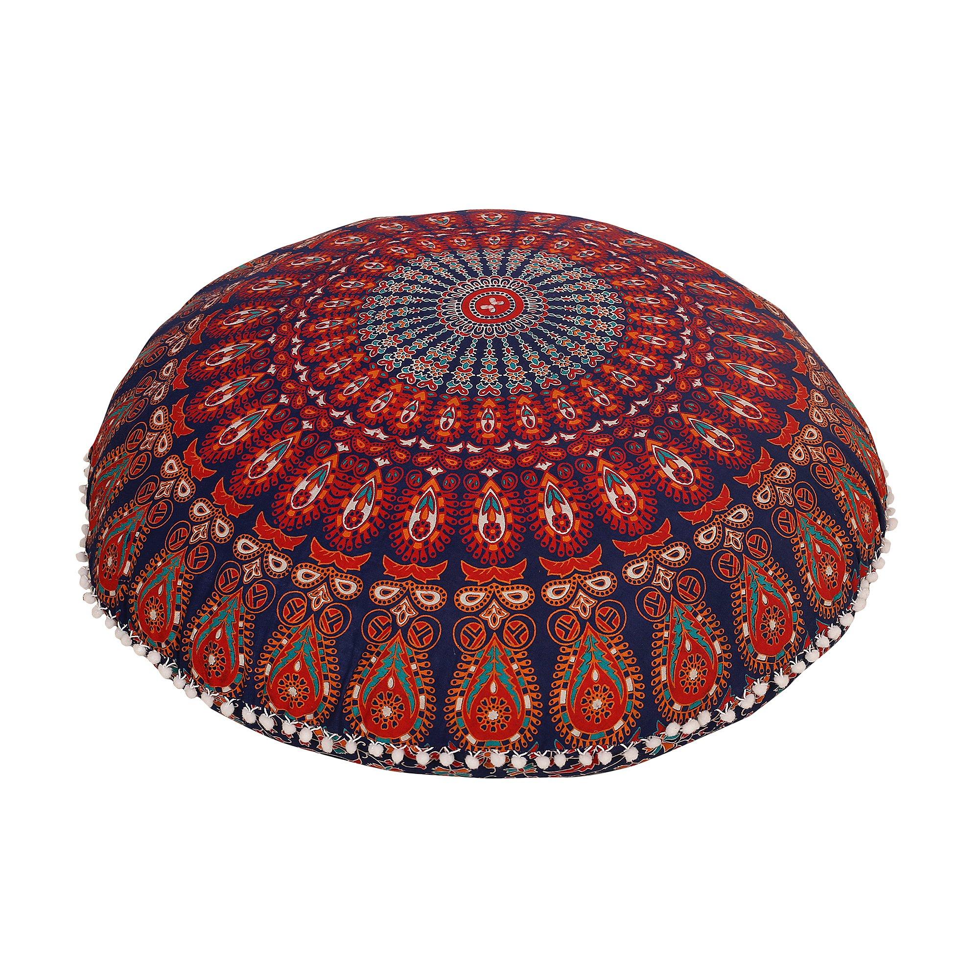 Navy Blue Round Mandala Floor Pillow Throw Living Room Decor Boho Decor Hippie Round Seating Pouf Cover Mandala Floor Pillows Cushion With Pom Pom
