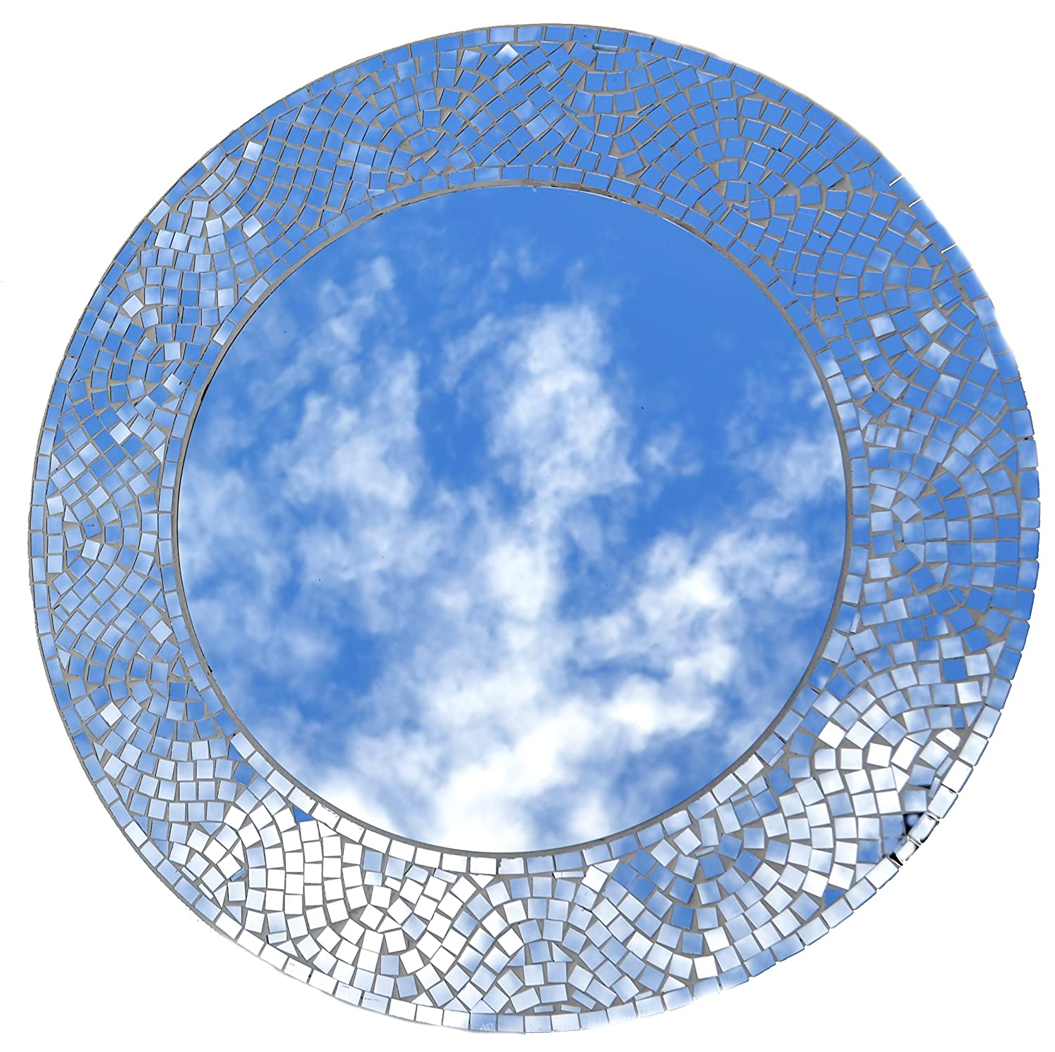 LuLu Decor, Silvershine Mosaic Wall Mirror, Decorative Round Wall Mirror, Diameter 23.5 , Inside Mirror 15 , Perfect for Housewarming Gift LP303