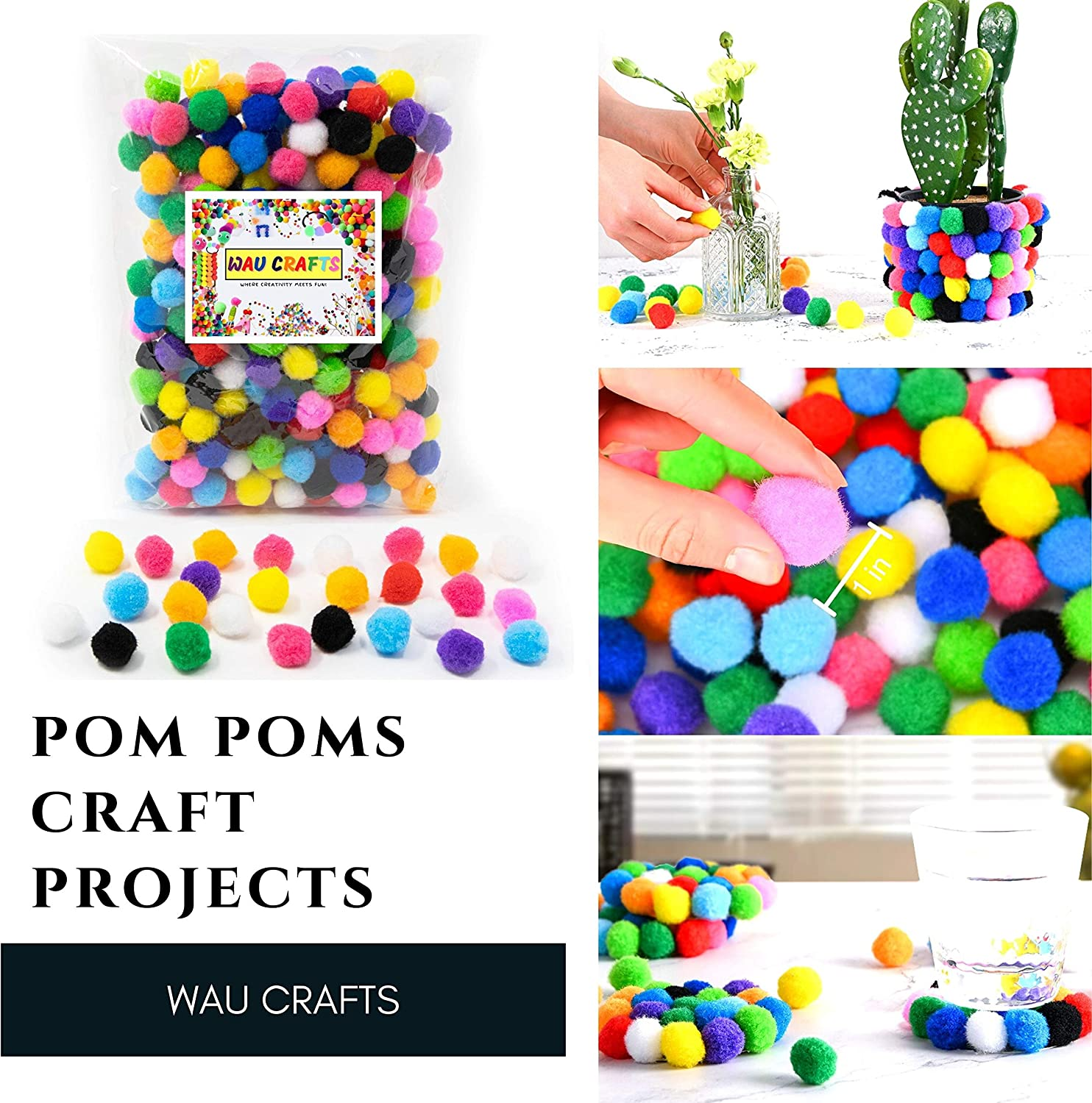 WAU Crafts Pom Poms 1 inch 300 Pieces Assorted Multicolor Pompoms for Crafts Arts /& DIY Projects