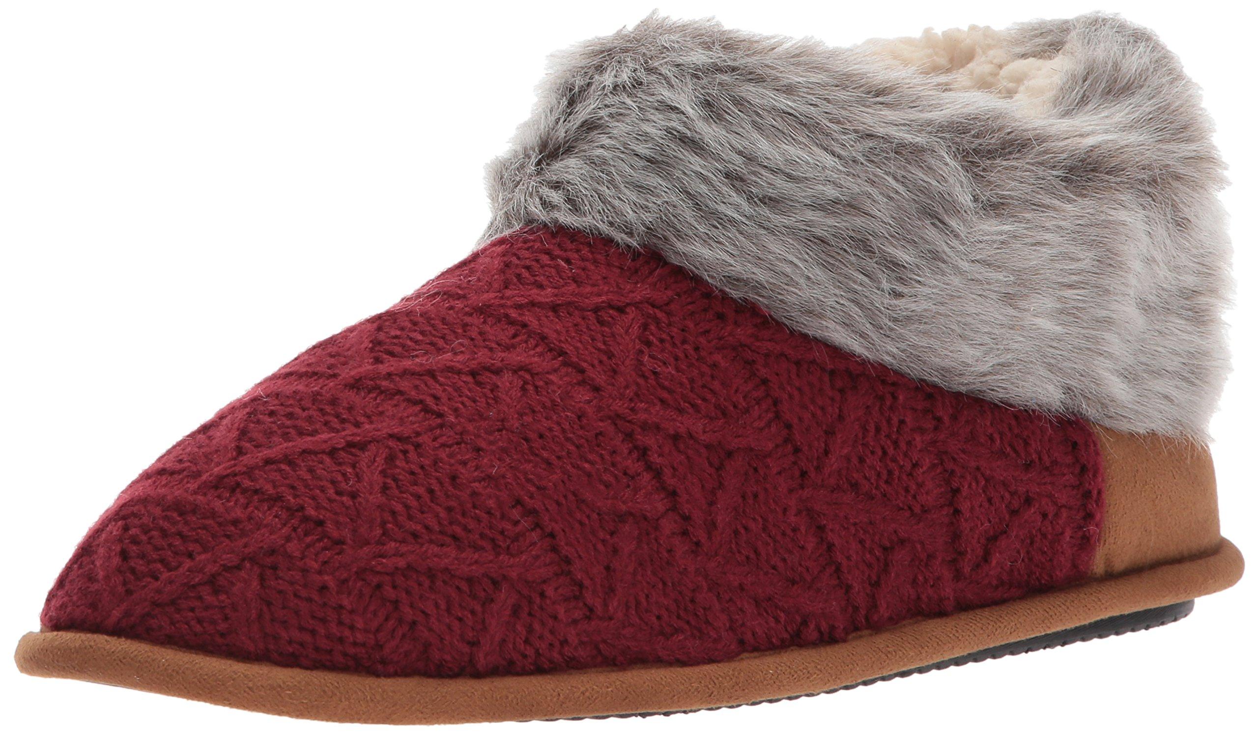 Dearfoams Women's Textured Knit Bootie w Pile, Cabernet, XL Medium US