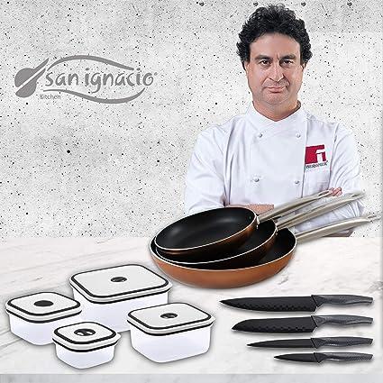 San Ignacio Professional Chef Copper Set de 3 sartenes + 4 recipientes herméticos + 4 Cuchillos