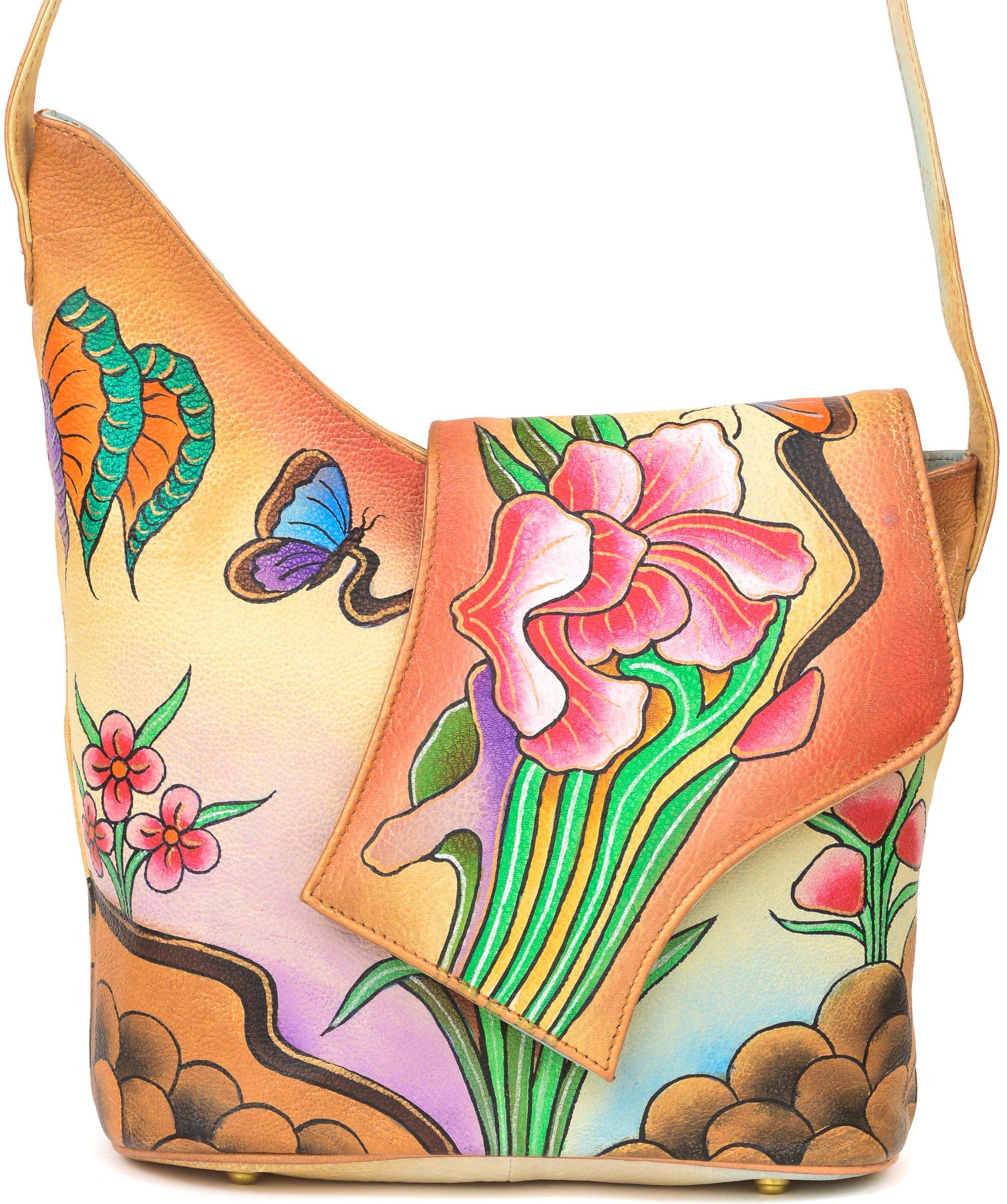 ZIMBELMANN SARAH Genuine Nappa Leather Hand-painted Cross Body Flap Shoulder Bag