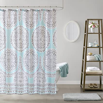 Comfort Spaces Aqua Blue Grey Shower Curtain
