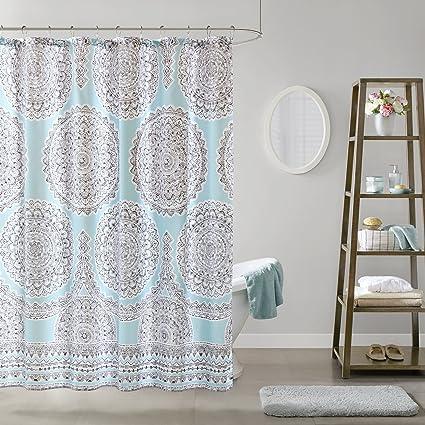 aqua and gray shower curtain. Comfort Spaces Aqua Blue Grey Shower Curtain  Adele Curtains For Bathroom Modern Amazon Com