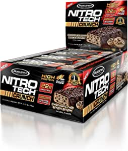 MuscleTech NitroTech Crunch Protein Bar, Chocolate Chip Cookie Dough, 22 Grams Protein, 5 Grams of Fiber, 240 Calories, Low Carb, Gluten Free, 65g Bars, 12 Count