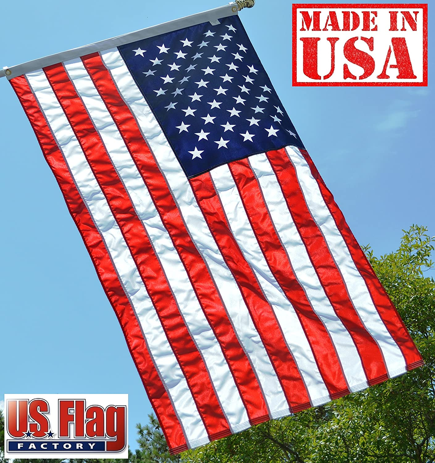 US Flag Factory 3x5 FT US American Flag (Sewn Stripes, Printed Stars) Outdoor SolarMax Nylon - Made in America