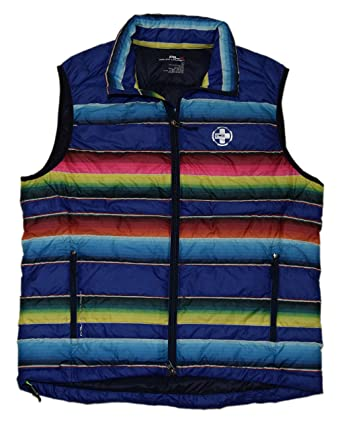 RALPH LAUREN Polo RLX Mens Down Puffer Zip Jacket Vest Blue Red Stripe Large