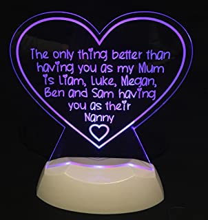 LED Nightlight Only Thing Mum Nanny Personalised Great Gift Idea! Desk  Table Lamp Light Mothers