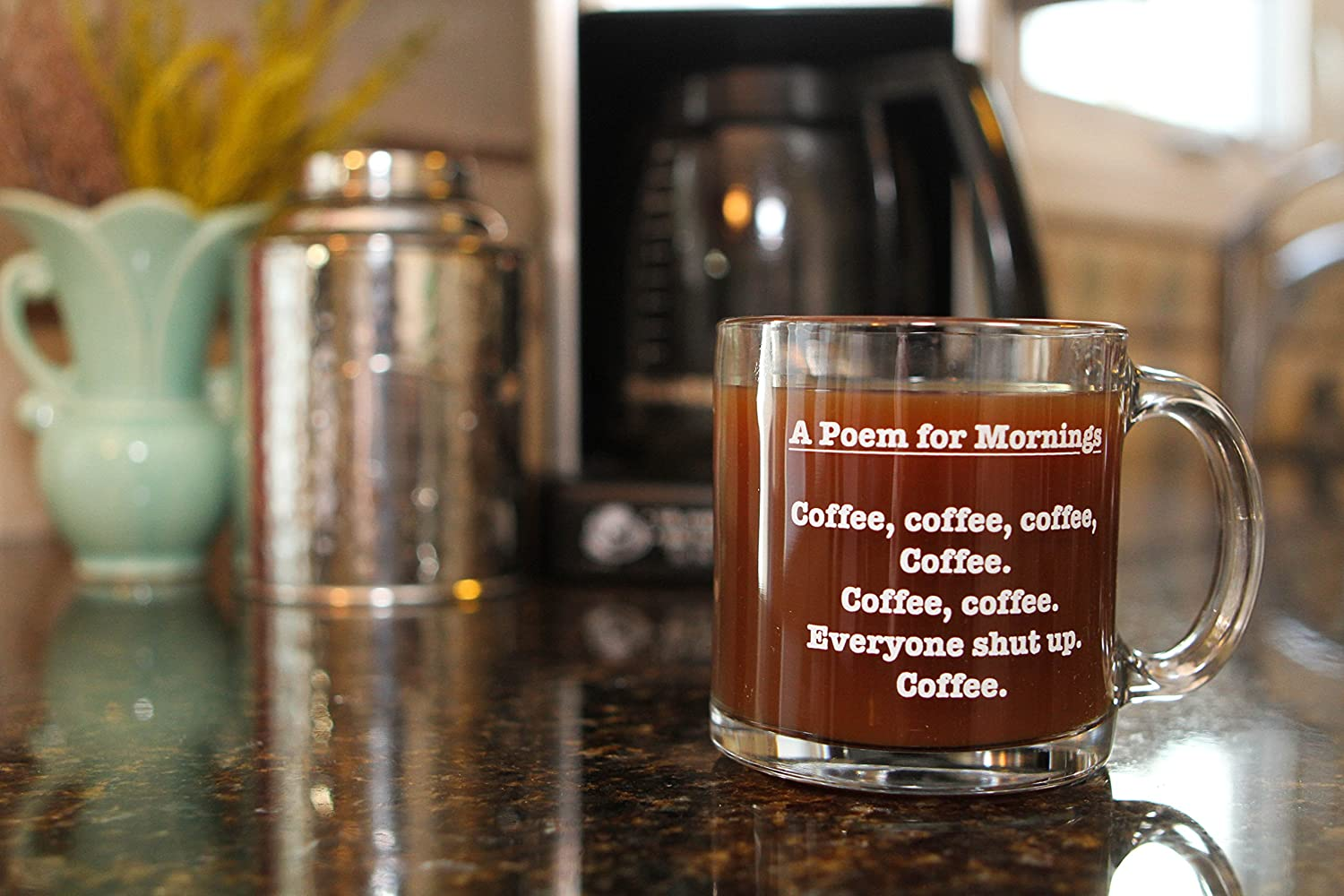 Mugs for Men and Women 13 oz Glass A Poem for Mornings Funny Coffee Mug Gag Gifts for Mothers or Fathers Day Sister Dad Best Friends Brother Birthday Gift Ideas for Mom Coworker