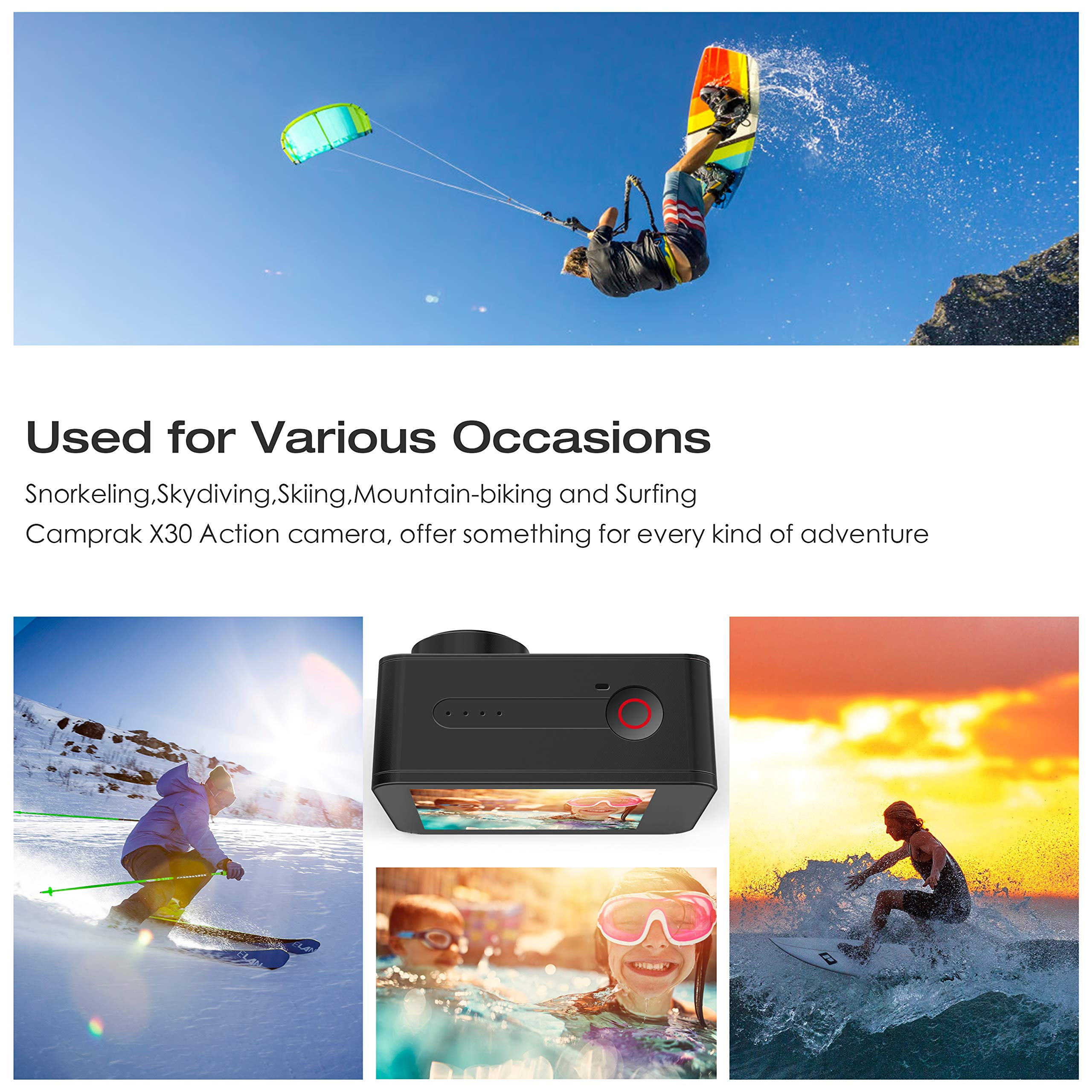 Campark X30 4K Action Camera 20MP EIS Anti Shake WiFi Touch Screen 1080p 120fps Sports Underwater 40m Waterproof Video Cam with 2 Batteries Mounting Accessories Compatible for go pro