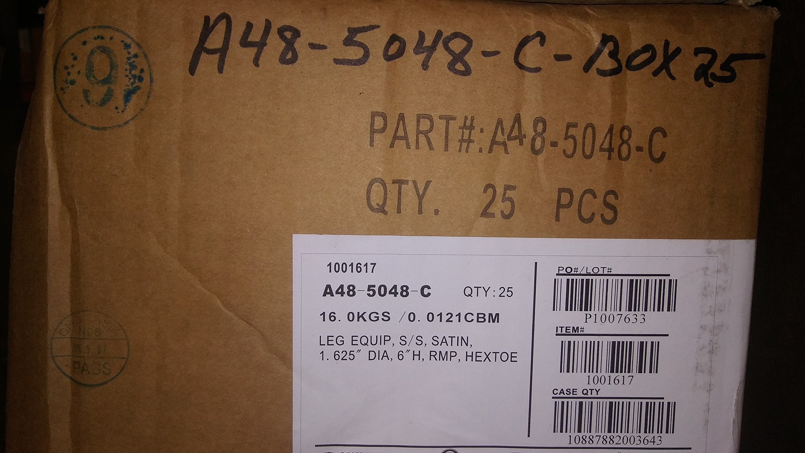 Component Hardware A48-5048-C 6'' case of 25 Stainless Steel Adjustable Leg Leveler
