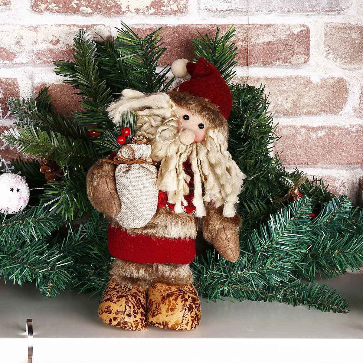 Codream 11 Standing Santa Claus Christmas Collectible Figurine Toy Tree Decent Ornaments Home Indoor Table Fireplace Shelf Window Sitter Figurine Ornament Decoration Gifts