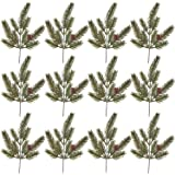 Package of 12 Artificial Pine Accent Picks for Christmas Flower Arrangements, Wreaths and Holiday Decorations