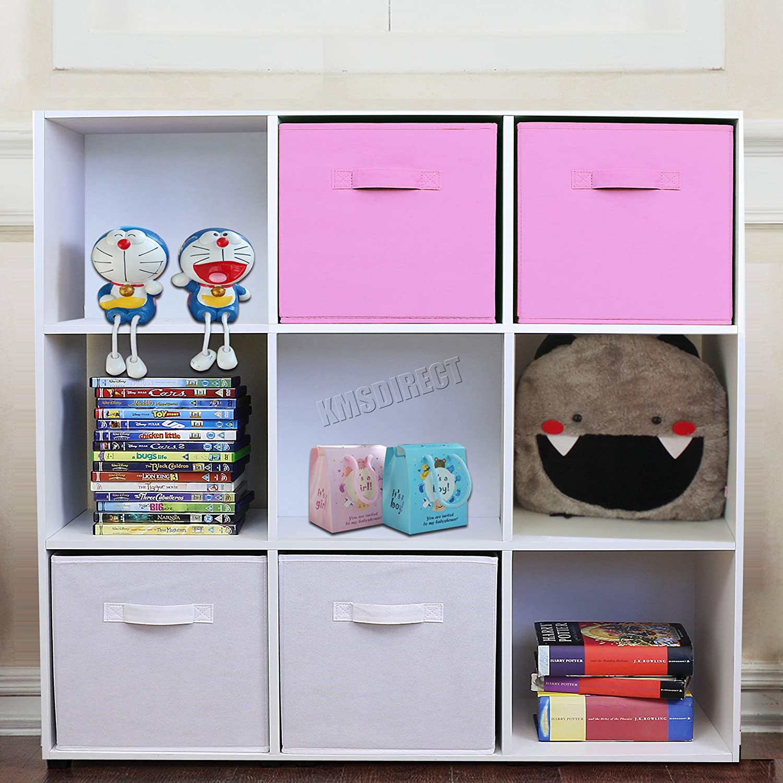 FoxHunter 9 Cube Toy Games Storage Display Shelves Bookshelf With 4 Free Woven Drawers 3 Tier Unit Organiser Rack Kids Children Bedroom TSS02 PB White Pink KMS