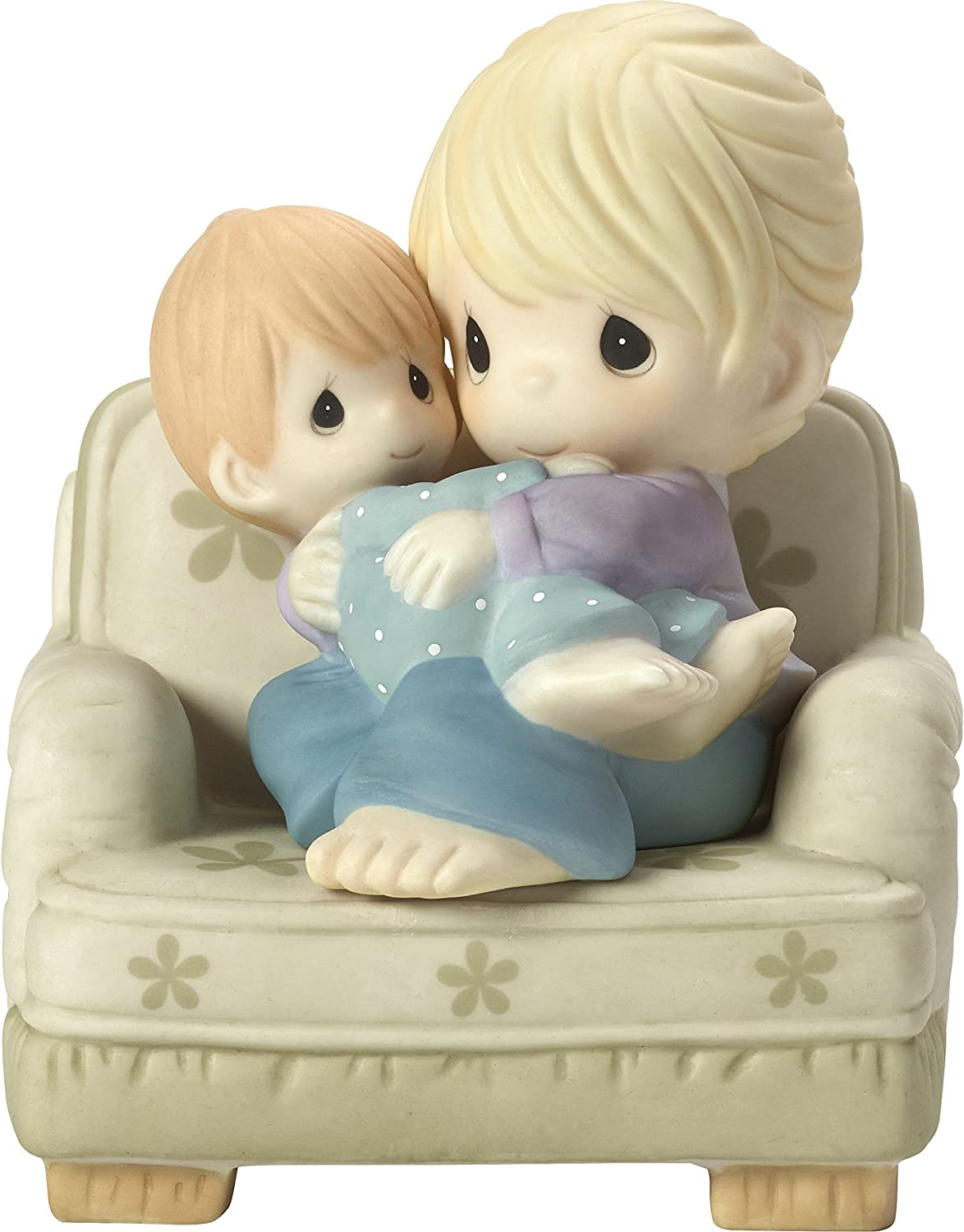 Precious Moments Nestled in Your Love Mother & Son In Chair Bisque Porcelain Home Decor Collectible Figurine 173019,Multicolor