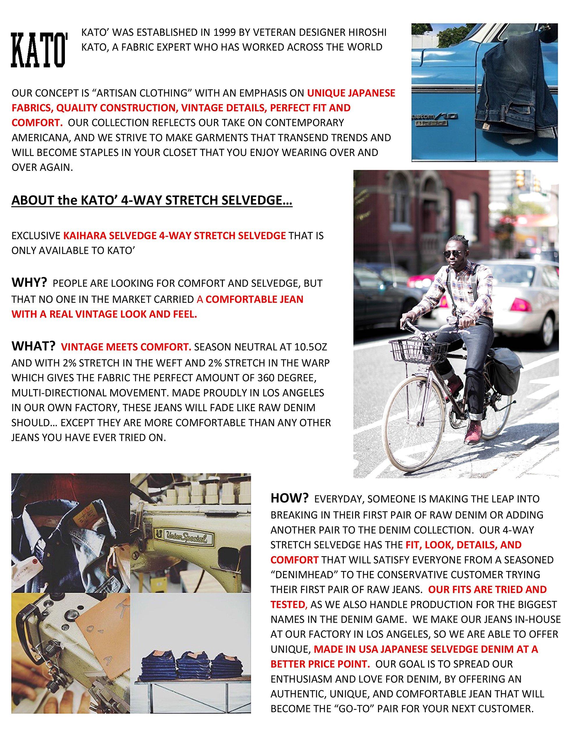 HIROSHI KATO Jeans Men's The Needle Skinny Raw Black 10.5 Oz 4-Way Stretch Selvedge Denim Skinny Fits Made In USA Raw Black 36 by HIROSHI KATO (Image #6)