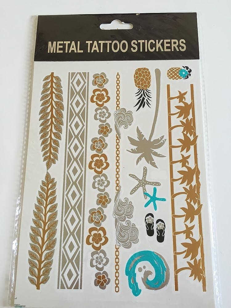 Tatuajes temporales metálicos resistentes al agua, pedrería y ...