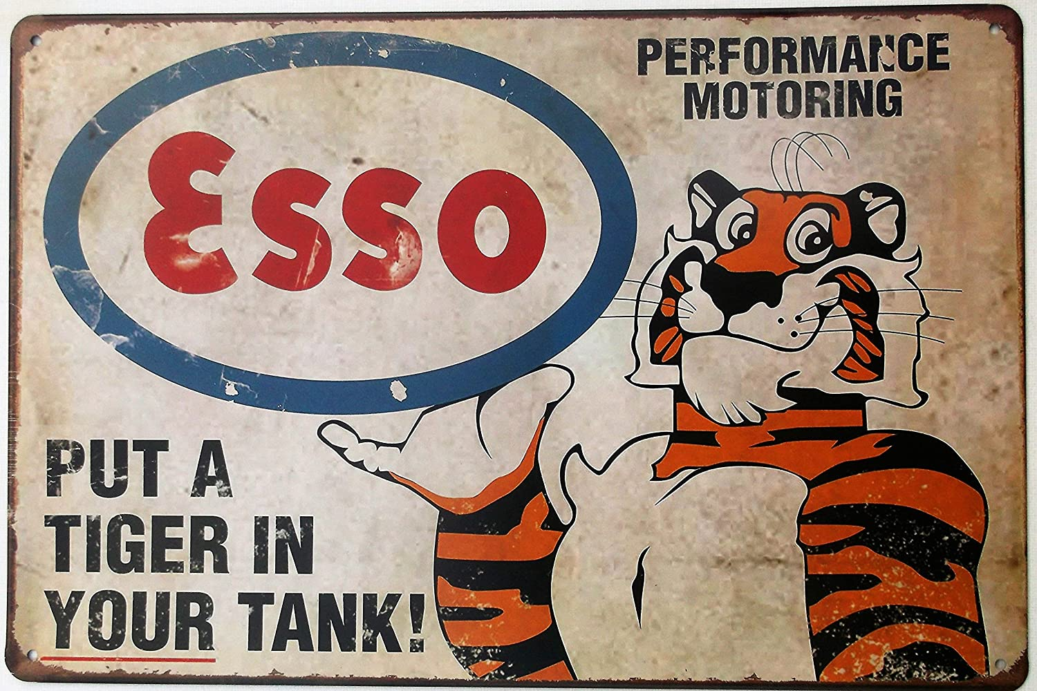 ESSO TONY THE TIGER TIN METAL PLATE SIGN 20 X 30 CM A REALLY NICE FELLOW FORGOT HIS NAME