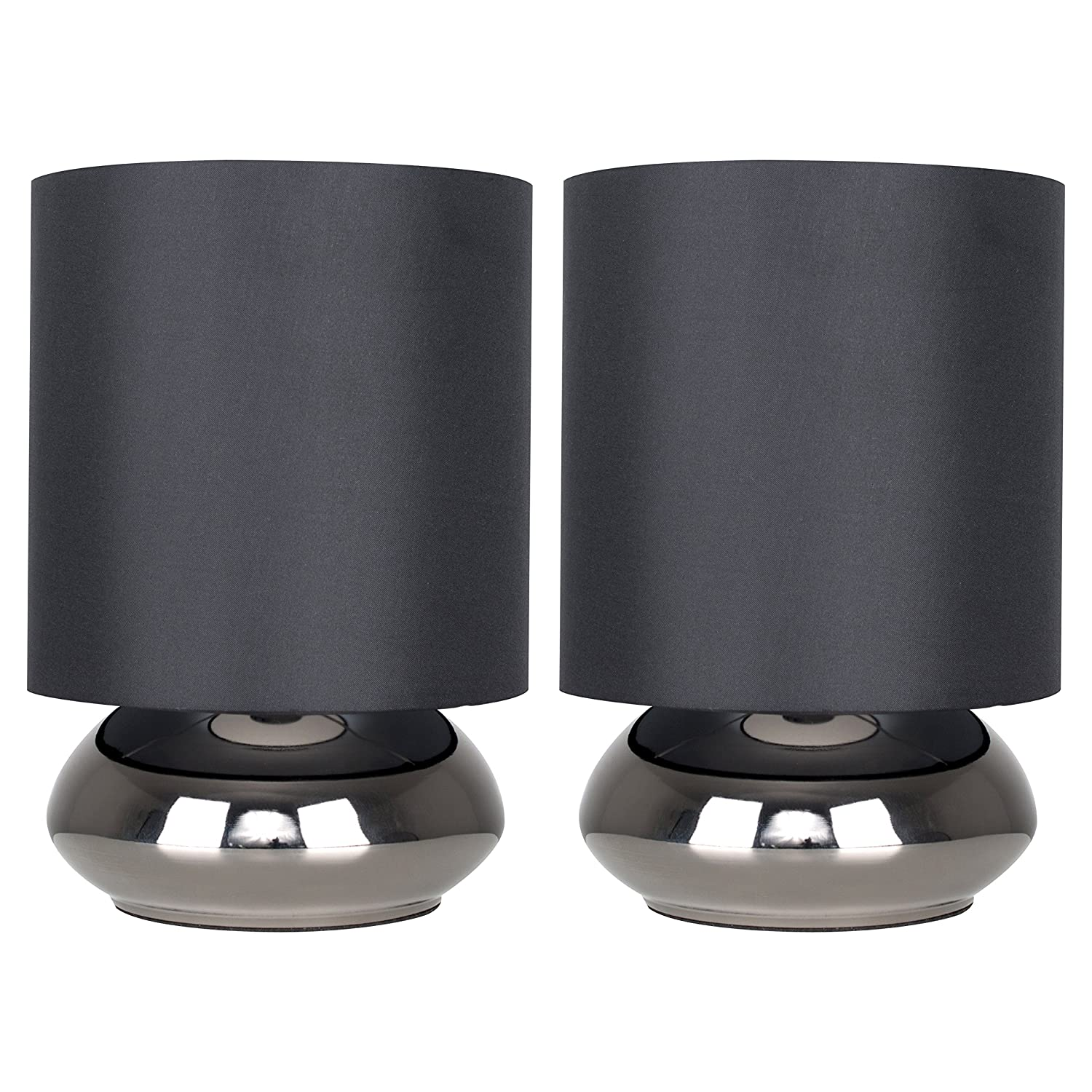Pair of - Modern Black Chrome Touch Table Lamps with Black Shades - Complete with 5w LED Dimmable Candle Bulbs [3000K Warm White] MiniSun