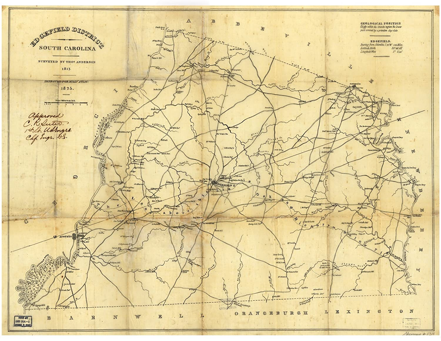 Edgefield District South Carolina map c1825 18x24