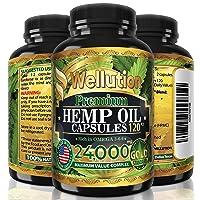 Hemp Oil Capsules 24,000 MG - Ashawagandha and Melatonin Supplement - Anxiety, Stress...