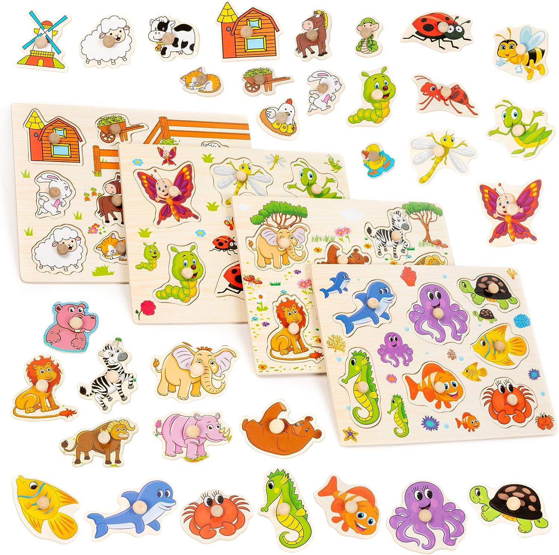 Juego de 4 Puzzles de Madera de Colores Brillantes - Rompecabezas juguetes - Granja, Océano, Insectos y Animales de la Selva - para niños en edad preescolar, educación temprana niño y el desarrollo