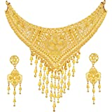 Mansiyaorange Party Collection Broad Choker Juelry/Jewellery Neckalce Sets for Women (One Gram Gold)