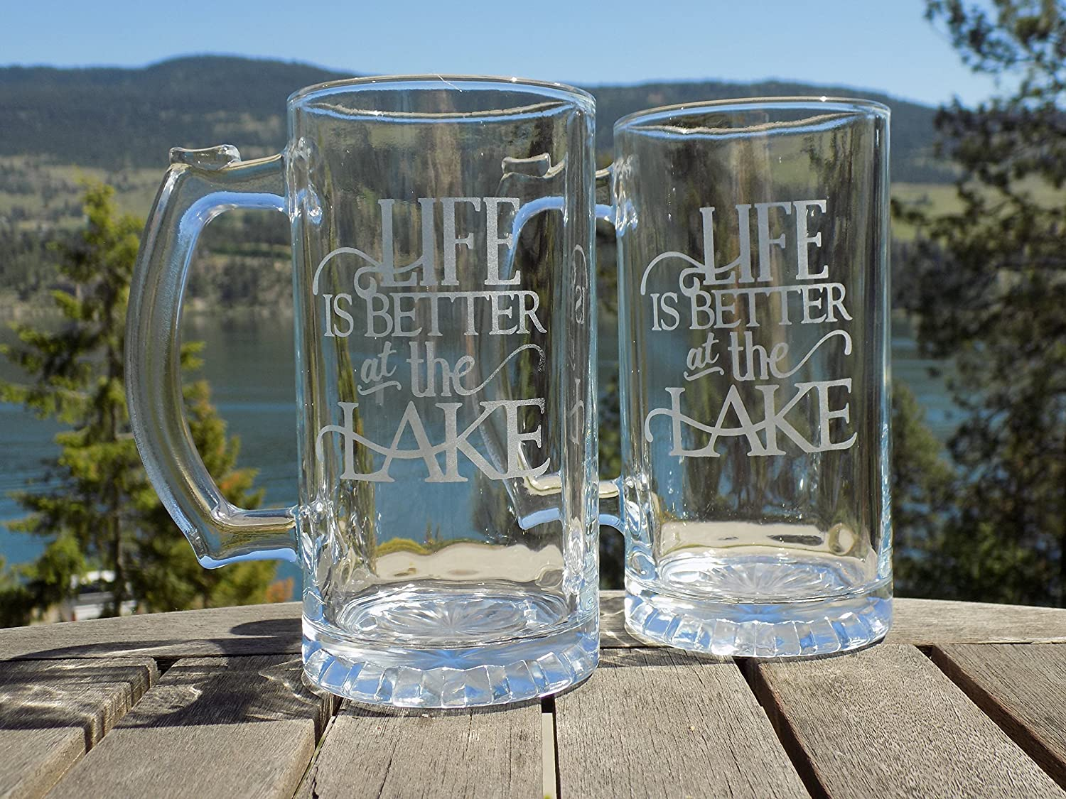 Life is Better at the Lake Beer Mugs, Etched Beer Glasses Set of 2, Beer Gift for men