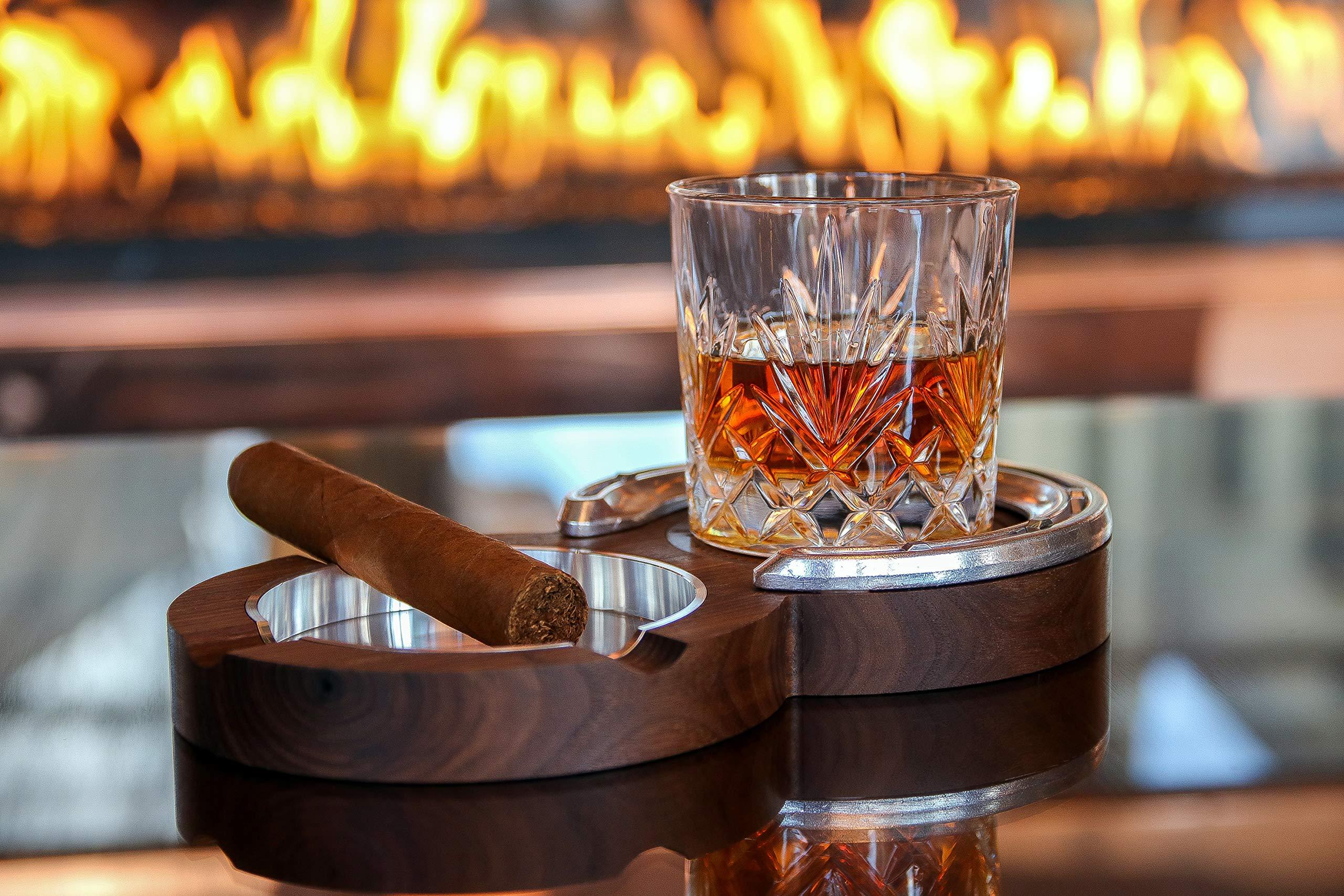 Walnut Kentucky Double Cigar Ashtray Coaster by The Kentucky Double