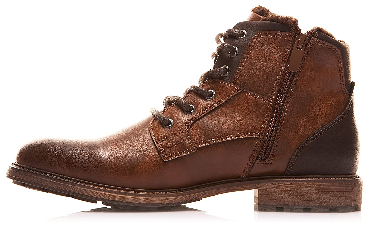 XPER Mens Brown Fashion Lace up Motorcycle Combat Winter Ankle Boots